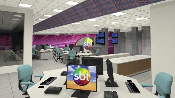Na imagem, um aquário (esquerda) é mostrado, onde dali serão feitos os telejornais; painel superior com led's mostram notícias.